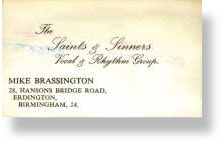 Ray Thomas - Saints & Sinners Business Card