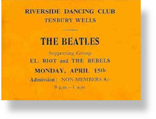 Ticket for Beatles and El Riot & The Rebels show, Tenbury Wells