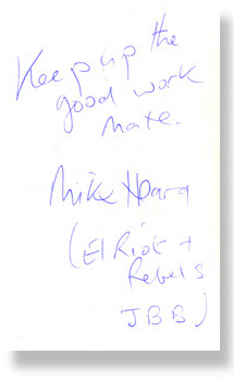 Mike Heard Autograph - El Riot & The Rebels